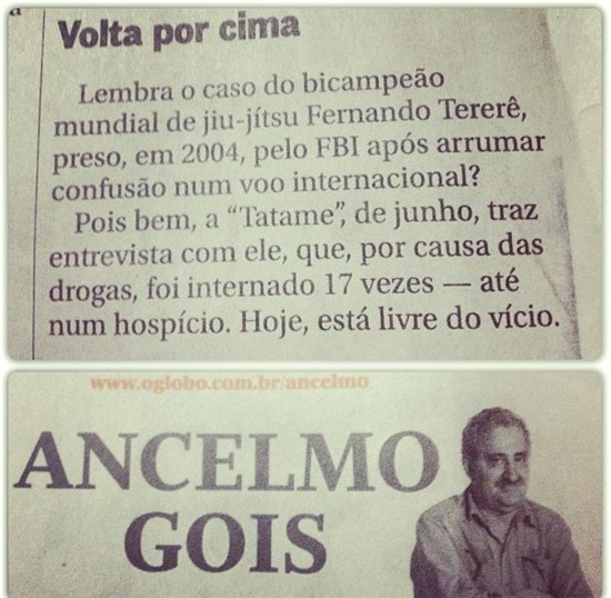 Nota no Globo sobre Fernando TERERE/ Nice note about Terere on the biggest newspaper of Brazil