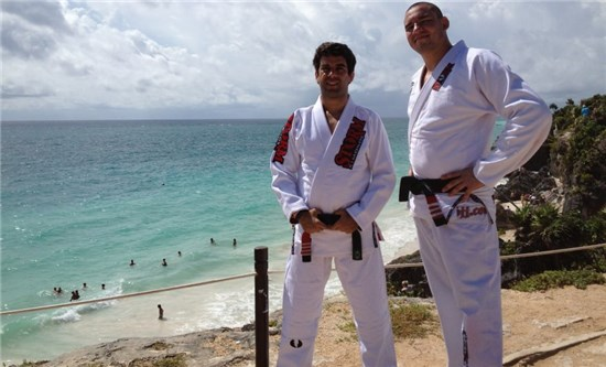 Felipe Costa and Comprido teaching at one of the Brazilian Black Belt BJJ CAMP